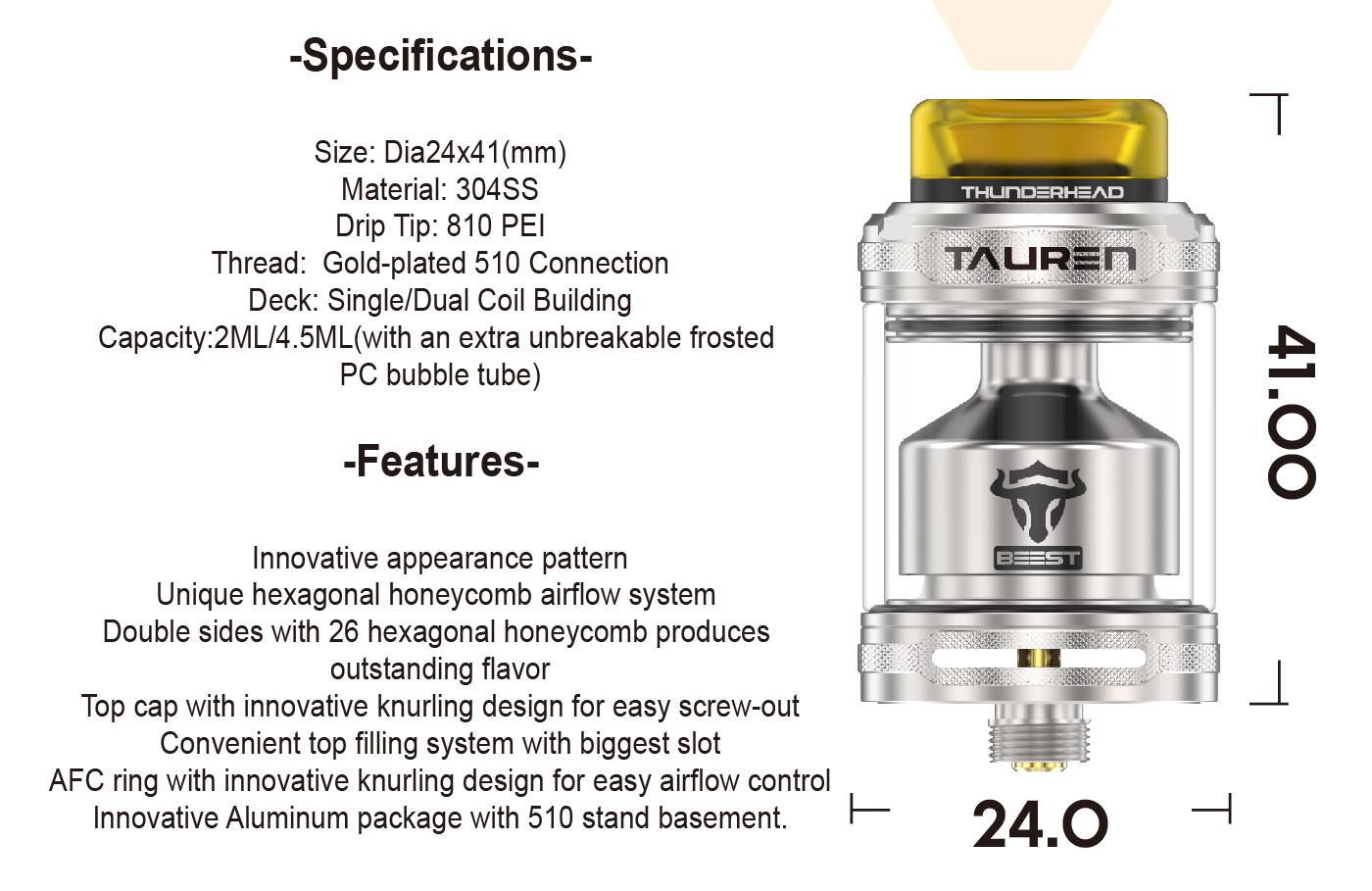 9eb2cfe3391a290fad71155a438f467c Thunder Head Creations Tauren RTA 2ml / 4.5ml Xsmokers